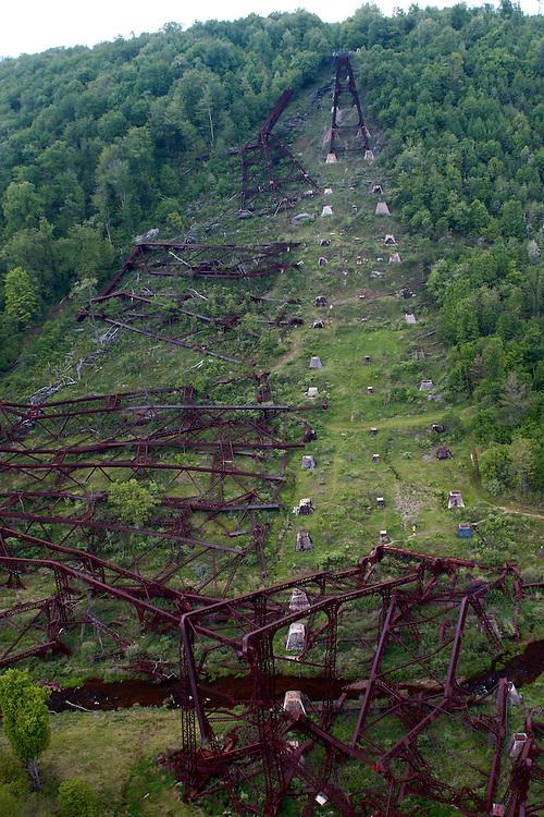 Northcentral Pennsylvania, Kinzua Bridge fallen from tornado, McKean County