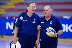 Coach Miro Pozun and Radivoje Stanic at practice of Slovenian Handball Men National Team, on June 4, 2009, in Arena Kodeljevo, Ljubljana, Slovenia. (Photo by Vid Ponikvar / Sportida)