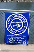 No Dumping sign, Los Cerritos Channel, Long Beach, California, USA