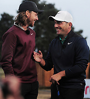Golf - 2018 Sky Sports British Masters - Thursday, First Round<br /> <br /> Francesco Molinari of Italy and Tommy Fleetwood of England together, share a joke after their first round, at Walton Heath Golf Club.<br /> <br /> COLORSPORT/ANDREW COWIE