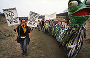 Road Protest actions at Twyford Down, near the Donga pathways, outside Winchester, against the M3 road extension. 1992-94<br />