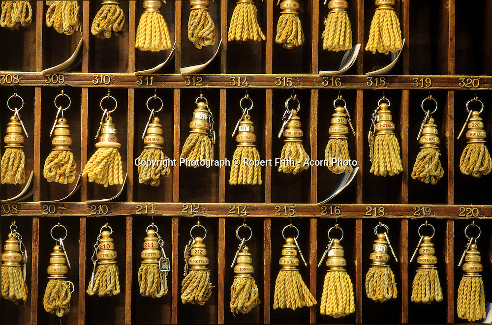 Room keys at the desk of an Italian hotel
