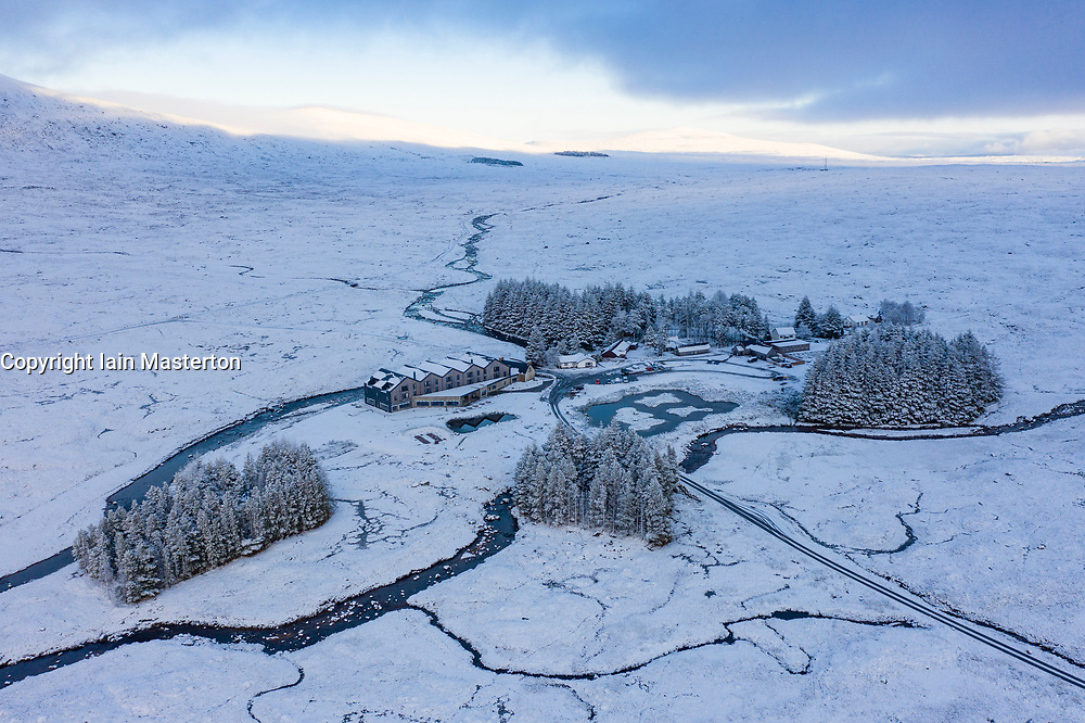 Aerial view of Kingshouse Hotel during snow in winter in Glencoe , Scotland, UK