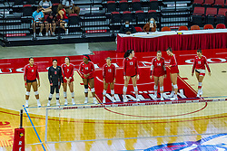 BLOOMINGTON, IL - August 13: Red Team: Aliyah Moore, Carley Nicholson, Courtney Heffren, Kendee Hilliard, Maggi Weller, Cassie Jordan, Sarah Kushner, Nicole Lund  and Nora Janka  during a college Women's volleyball Scrimmage of the Illinois State Redbirds on  August 13 2021 at Illinois State University in Normal, IL. (Photo by Alan Look)