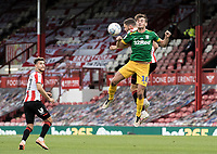 Preston North End's Ryan Ledson (right) competing in the air<br /> <br /> Photographer Andrew Kearns/CameraSport<br /> <br /> The EFL Sky Bet Championship - Brentford v Preston North End - Wednesday 15th July 2020 - Griffin Park - Brentford <br /> <br /> World Copyright © 2020 CameraSport. All rights reserved. 43 Linden Ave. Countesthorpe. Leicester. England. LE8 5PG - Tel: +44 (0) 116 277 4147 - admin@camerasport.com - www.camerasport.com