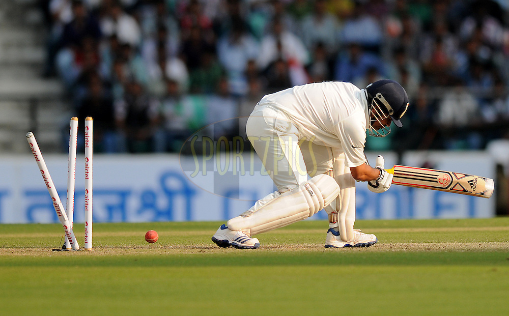 Sachin Tendulkar of India gets bowled out by James Anderson of England during day two of the 4th Airtel Test Match between India and England held at VCA ground in Nagpur on the 14th December 2012..Photo by  Pal Pillai/BCCI/SPORTZPICS .