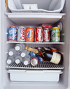 A small refrigerator in the Control Room of the Arecibo Observatory holds a bottle of champagne.  A symbol of SETI's hope for receiving a signal.