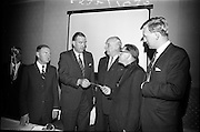 28/06/1965<br /> 06/28/1965<br /> 28 June 1965<br /> Reception for presentation of funding by W.D. & H.O., Wills to Glenageary Horse Show Committee at the Royal Marine Hotel, Dun Laoghaire, Dublin. Image shows Mr. D.R. Mott, Managing Director of W.D. & H.O. Wills (Ireland) handing over a cheque for the sponsorship by Wills, of the Glenageary Horse Show to Rev. Fr. R. O'Donoghue C.C., Glenageary. Also in the picture are (l-r): Mr. Liam Cosgrove T.D.; Mr D. Bloomer, Chairman, Horse Show Committee and Mr. David Andrews T.D..