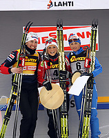 Langrenn<br /> Lahti Finland<br /> 12.03.2011<br /> Foto: Gepa/Digitalsport<br /> NORWAY ONLY<br /> <br /> FIS Weltcup, 10km Verfolgung der Damen. <br /> <br /> Bild zeigt Justyna Kowalczyk (POL), Therese Johaug (NOR) und Arianna Follis (ITA).