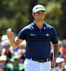 Jon Rahm reacts to his putt on the 2nd hole for a birdie during the third round of the Masters Tournament at Augusta National Golf Club in Augusta, Ga., on Saturday, April 8, 2017. (Photo by Brant Sanderlin/Atlanta Journal-Constitution/TNS) *** Please Use Credit from Credit Field ***