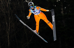 Nika Kriznar of Slovenia soaring through the air during Trial Round at Day 1 of World Cup Ski Jumping Ladies Ljubno 2019, on February 8, 2019 in Ljubno ob Savinji, Slovenia. Photo by Matic Ritonja / Sportida