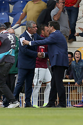 June 3, 2017 - Lisbon, Portugal - Portugal's head coach Fernando Santos shakes hands with Cypruss head coach Christoforou Christakis (R ) during the friendly football match Portugal vs Cyprus at Antonio Coimbra da Mota Stadium in Estoril, outskirts of Lisbon, Portugal on June 3, 2017. (Credit Image: © Pedro Fiuza/NurPhoto via ZUMA Press)