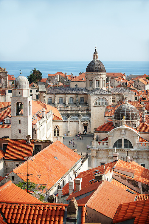Stock photos of Roof tops of Dubrovnik with Cathedral, Croatia .<br /> <br /> Visit our MEDIEVAL PHOTO COLLECTIONS for more   photos  to download or buy as prints https://funkystock.photoshelter.com/gallery-collection/Medieval-Middle-Ages-Historic-Places-Arcaeological-Sites-Pictures-Images-of/C0000B5ZA54_WD0s