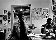 Photo of Linton Kwesi Johnson (LKJ) and Darcus Howe at the Race Today office on Railton Road Brixton -  1979