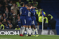 Michy Batshuayi of Chelsea ® celebrates with his team mates after he scores his team's second goal. Carabao Cup 3rd round match, Chelsea v Nottingham Forest at Stamford Bridge in London on Wednesday 20th September 2017.<br /> pic by Steffan Bowen, Andrew Orchard sports photography.