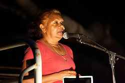 Lorna Cox, mother of singer Kerri-anne Cox, addresses the anti-gas rally held in Broome on Saturday 16th October 2010.