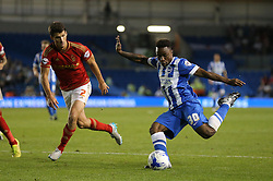 Kazenga LuaLua of Brighton & Hove Albion has a shot on goal - Mandatory byline: Paul Terry/JMP - 07966386802 - 07/08/2015 - FOOTBALL - Falmer Stadium -Brighton,England - Brighton v Nottingham Forest - Sky Bet Championship