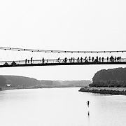 Life returns to a sense of normalcy following a cease fire with residents of Osijek, Croatia and surrounding cities take part in jumping from a bridge over the Drava river.