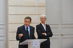 File Photo - French President Nicolas Sarkozy delivers a speech next to French Economy Minister Christine Lagarde during a press conference after a meeting with French bank executives over bonuses at Elysee Palace in Paris, France on August 25, 2009. The European Council announced Tuesday that Lagarde, the current head of the International Monetary Fund, had been chosen to succeed Mario Draghi as president of the European Central Bank,, whose eight-year term ends in October. Photo by Mousse/ABACAPRESS.COM