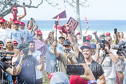 December 18, 2017 - Oahu, Hawaii, U.S. - John John Florence of Hawaii celebrates becoming a 2X World Champion at the 2017 Billabong Pipe Masters.  Florence dreamed of winning a World Title in Hawaii and that dream became a reality today when he backed up his 2016 World Title which he won in Portugal with the 2017 World Title in Hawaii...Billabong Pipe Masters 2017, Hawaii, USA - 18 Dec 2017 (Credit Image: © WSL via ZUMA Wire/ZUMAPRESS.com)
