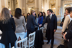 Caroline Fourest and Emmanuel Macron during the first meeting of the G7 Gender Equality Advisory Council in Paris, France, on February 19, 2019. Photo by Jacques Witt/Pool/ABACAPRESS.COM