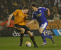 Photo: Steve Bond/Sportsbeat Images.<br /> Wolverhampton Wanderers v Leicester City. Coca Cola Championship. 22/12/2007. Matty Fryatt (R) tries to turn Neill Collins (L)