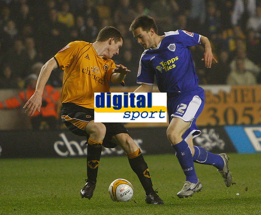 Photo: Steve Bond/Sportsbeat Images.<br /> Wolverhampton Wanderers v Leicester City. Coca Cola Championship. 22/12/2007. Matty Fryatt (R) tries to turn Neill Collins (L)