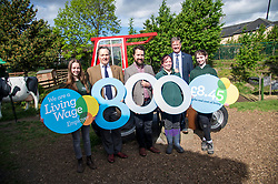Pictured: Kirsty McGoff, Keith Brown, Maia Gordon, Josiah Lockhart, George Ellie and Zoe White<br /> <br /> Cabinet Secretary for Economy, Jobs & Fair Work Keith Brown visited Gorgie City Farm today  to mark their accreditation as the 800th Living Wage employer in Scotland. Mr Brown met Josiah Lockhart, CEO and undertook a short tour of the farm, celebrating their accreditation and promoting the Living Wage more generally. The Scottish Government has set a target of reaching 1,000 Scottish-based Living Wage Accredited Employers by autumn 2017. While at the farm Mr Brown met Maia Gordon, Kirsty McGoff (17) and Zoe White (18), who have benefited from the living wage, and George Ellis, chair of the farm's board of directors<br /> Ger Harley   EEm 18 May 2017