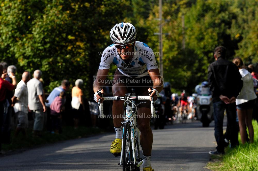 France, October 10 2010: AG2R LA MONDIALE (ALM)'s Sébastien HINAULT on the Côte de l'Epan during the 2010 Paris Tours cycle race.  Copyright 2010 Peter Horrell