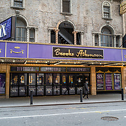 The Brooks Atkinson theater remains closed during the holiday season with Coronavirus (Covid-19) outbreak in Manhattan, New York on Tuesday, December 8, 2020. (Alex Menendez via AP)