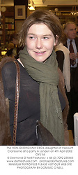 The HON.GEORGIANA CECIL daughter of Viscount Cranborne at a party in London on 4th April 2002.OYU 46