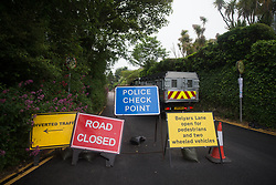 © Licensed to London News Pictures.  10/06/2021. St Ives, UK. Warning signs as police surround the Tregenna Castle in Carbis Way, Cornwall as major roads have been closed due to the G7 summit starting today. About 6,500 police officers secure a meeting of world leaders with over 5,000 from all over the country. Estimated cost of policing is £70m. Photo credit: Marcin Nowak/LNP