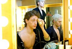 Ivan Putrov's <br /> Men In Motion <br /> rehearsals and dressing room <br /> at Sadler's Wells, London, Great Britain <br /> 13th March 2012<br /> <br /> Ivan Putrov <br /> Sergei Polunin<br />  <br /> Photograph by Elliott Franks
