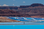 Bright blue evaporation ponds at the potash mine near Moab, Utah. Picture by Andrew Tobin.
