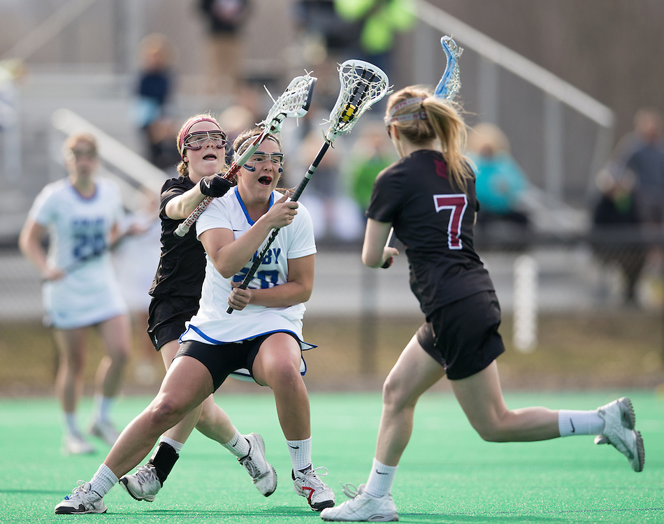 Cassie Rodgers, of Colby College, in a NCAA Division III lacrosse game against Bates College on April 22, 2015 in Waterville, ME. (Dustin Satloff/Colby College Athletics)