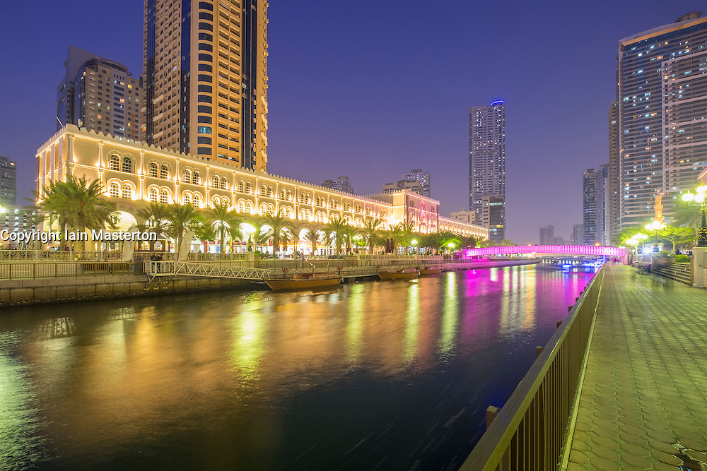 Evening viewof Al Qasba entertainment district in Sharjah United Arab Emirates