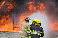 63818-02611 Firefighters at oilfield tank training, Marion Co., IL