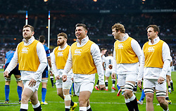 England replacement Ben Youngs smiles looking up at the big screen after Prop Dan Cole scores a try - Mandatory byline: Rogan Thomson/JMP - 19/03/2016 - RUGBY UNION - Stade de France - Paris, France - France v England - RBS 6 Nations 2016.