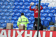 Gareth Bale of Wales goes to get his ball back from the stands during Wales football team training session at the Cardiff city stadium  in Cardiff, South Wales  on Monday 12th October 2015. The team are training ahead of their final Euro 2016 qualifying against Andorra tomorrow.<br /> pic by  Andrew Orchard, Andrew Orchard sports photography.