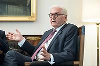 02 JUL 2018, BERLIN/GERMANY:<br /> Frank-Walter Steinmeier, Bundespraesident, waehrend einem Interview, Amtszimmer des Bundespraesidenten, Schloss Bellevue<br /> IMAGE: 20180702-01-041<br /> KEYWORDS: Bundespräsident