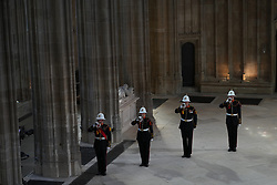The Buglers of the Royal Marines during the funeral of the Duke of Edinburgh in St George's Chapel, Windsor Castle, Berkshire. Picture date: Saturday April 17, 2021.