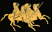 Greek Warriors mounted on horses. Depicted on a Greek vase circa 500BC