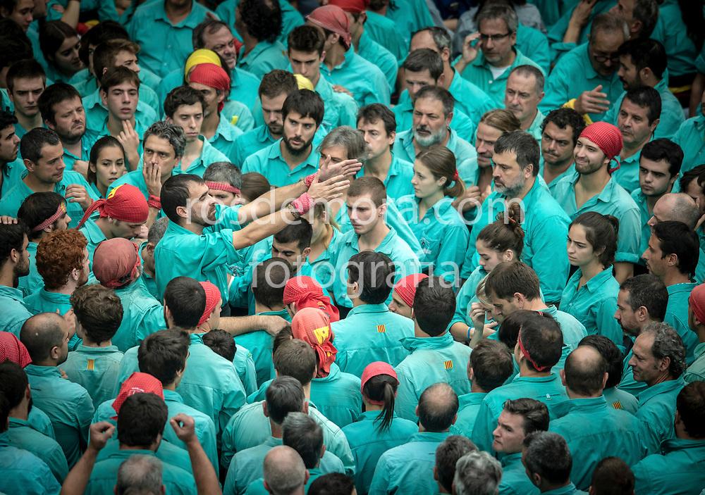 "Members of Castellers de Vilafranca build ""4 of 9 "" human tower of extreme difficulty in the last performance of the season in Vilafranca del Penedès,Barcelona, Spain. 1st Nov 2019."