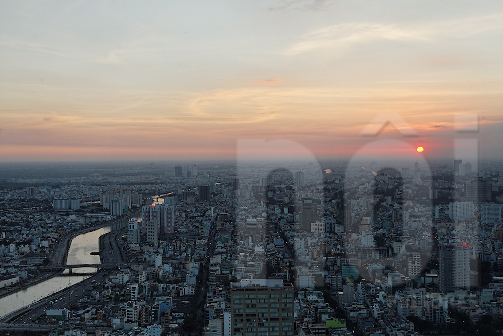 View over Ho Chi Minh City during sunset as seen from Bitexco financial tower, Vietnam, Southeast Asia
