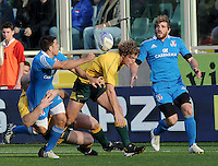 Florence, Italy -In the photo Gori and Cummins and Bergamasco.Artemio Franchi stadium in Florence Rugby test match Cariparma.Italy vs Australia. (Credit Image: © Gilberto Carbonari).