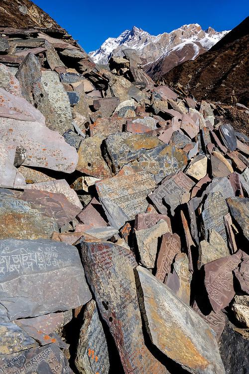Mani wall in the Manaslu region of Nepal.