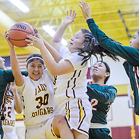 Tohatchi Cougar Cheyenne Begay (30) fights a rebound away from the Wingate Bears Saturday at Tohatchi High School.