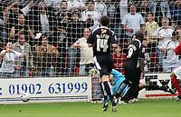 Photo: Paul Thomas.<br /> Walsall v Swansea. Coca Cola League 1.<br /> 27/08/2005.<br /> <br /> Adebayo Akinfenwa scores for Swansea.