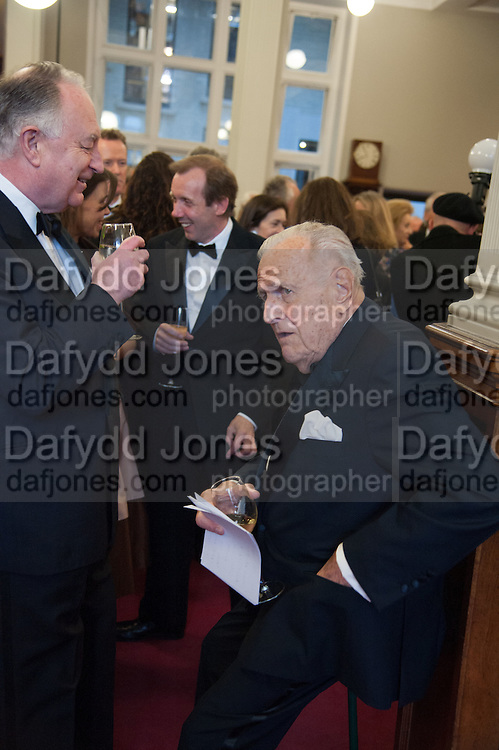 SIR JOHN RICHARDSON, The London Library Annual  Life in Literature Award 2013 sponsored by Heywood Hill. The London Library Annual Literary dinner. London Library. St. james's Sq. London. 16 May 2013.