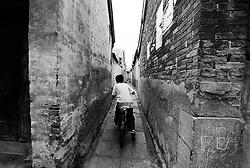 Narrow lane or hutong in Beijing China